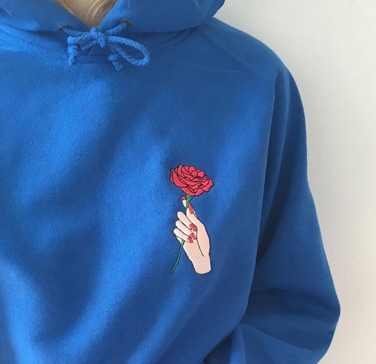 blue hoodie with hand rose embroidered patch