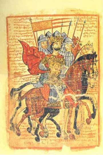 shiningjasmin:  shiningjasmin  King Alexander of Macedon leads to war knights.  Code Armenian illuminated, XIV century.  Library of St. Lazarus of the Armenians, Venice, Italy. (ms. 424, c.89v).