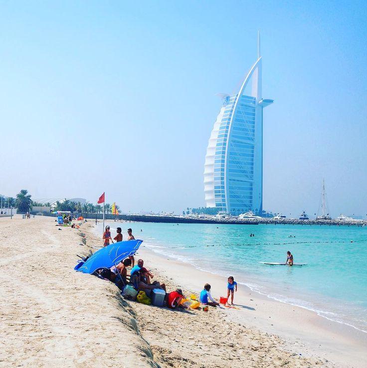 Dubai beach with the Burj Al Arab in the background. . . . #burjalarab #hotel #dubai #uae #beach #beachlife #skyscraper #skyline #landscape #seascape #travel #vacation #igphoto #visitdubai #itzpvo
