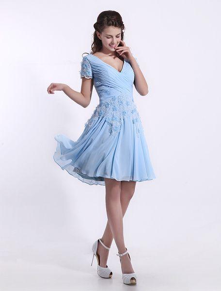 Chiffon Bridesmaid Dress Baby Blue Lace Applique Cocktail ...