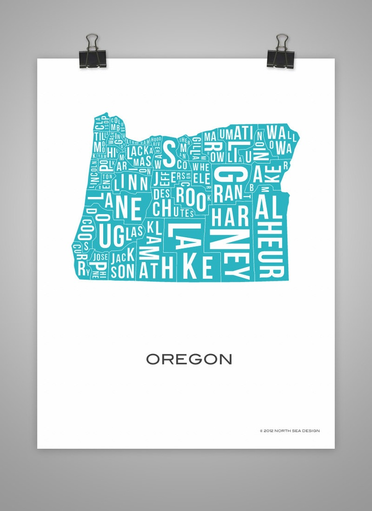 Oregon State County Map Poster Art United States Portland Counties