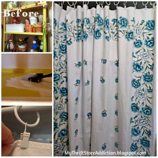 A Tablecloth Curtain For Storage Issues And My Experience With Countertop  Paint!