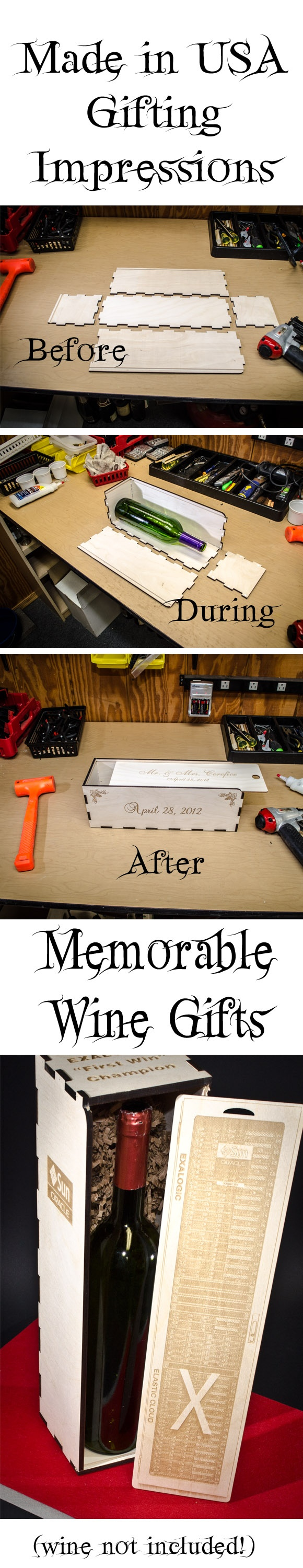 Stages of a Gift Box under construction - I laser engrave your greeting, their names, LOGOS, photos, and anything else you desire to last after the wine gift is enjoyed... prices from $45 (plus shipping) includes all design and production - minimum purchase is 1.