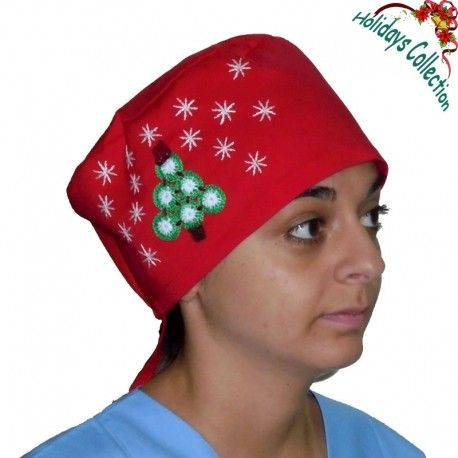 Surgical cap for all medical purposes. Amazing design! This scrub hat features handmade embroidered Christmas decoration with a Christmas tree and snow flakes!