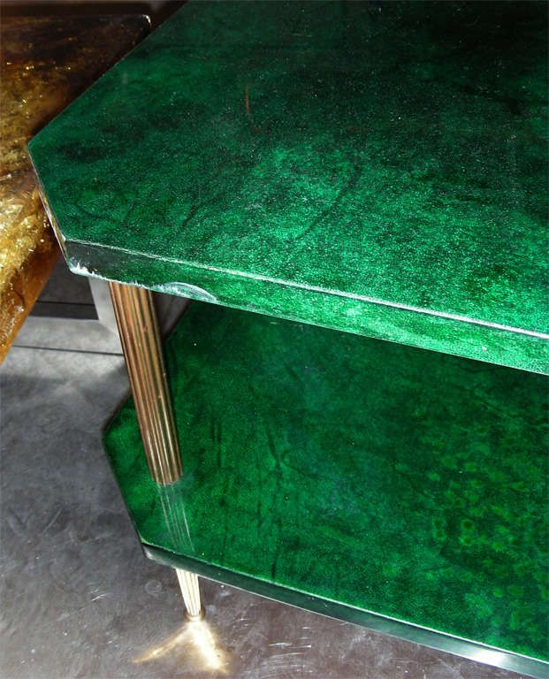 1960s Emerald Green Parchment Coffee Table by Aldo Tura   From a unique collection of antique and modern coffee and cocktail tables at https://www.1stdibs.com/furniture/tables/coffee-tables-cocktail-tables/