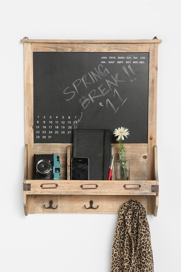 """bookshelf, coat rack, calendar, and note board from handcrafted wood? Oh, I love beautiful things with multiple uses. :) """"Vintage Wood Calendar Chalkboard"""" via urban outfitters"""