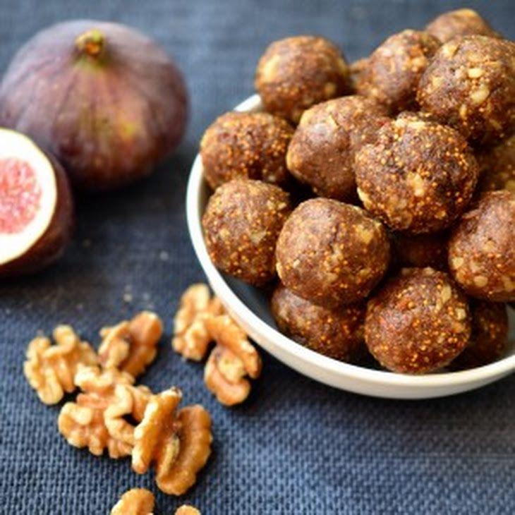 Fig Newton Energy Balls Recipe Desserts, Lunch with dried fig, dried date, vanilla, honey, salt, walnuts, pecans