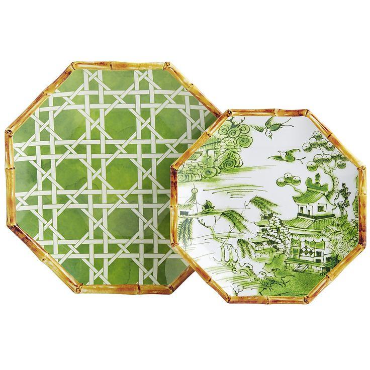 Chinoiserie Melamine Dinnerware - Kelly Green - Bamboo