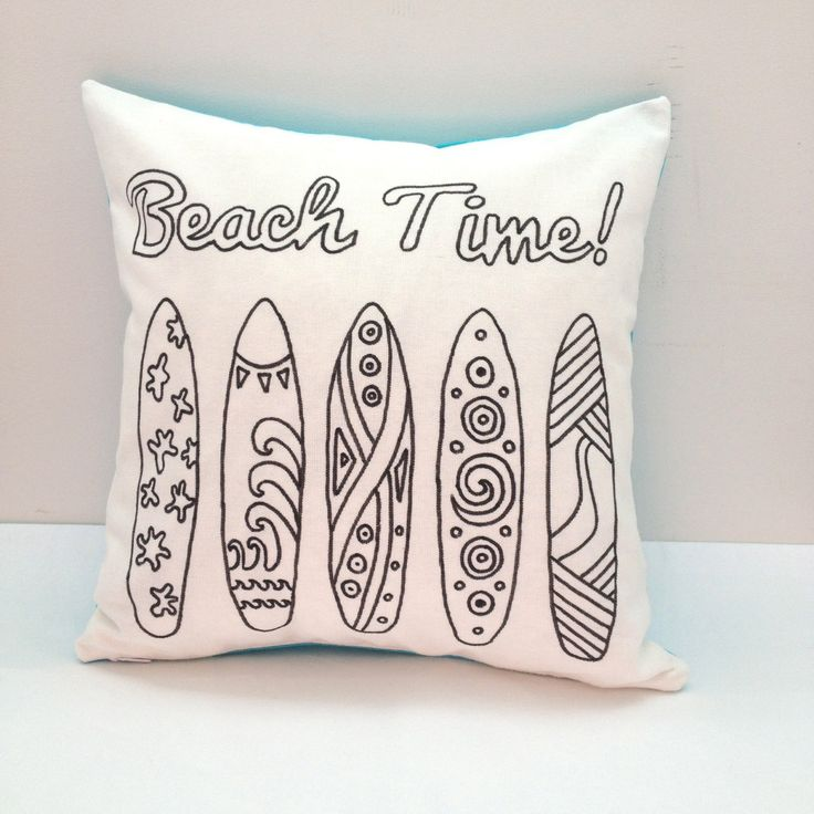 Colouring In 'Beach Time' Cushion Cover | Kids Hand Drawn Black & White Cushion | Kids Decor | Kids Craft Activity | Gifts For Kids by SimplyAddColour on Etsy