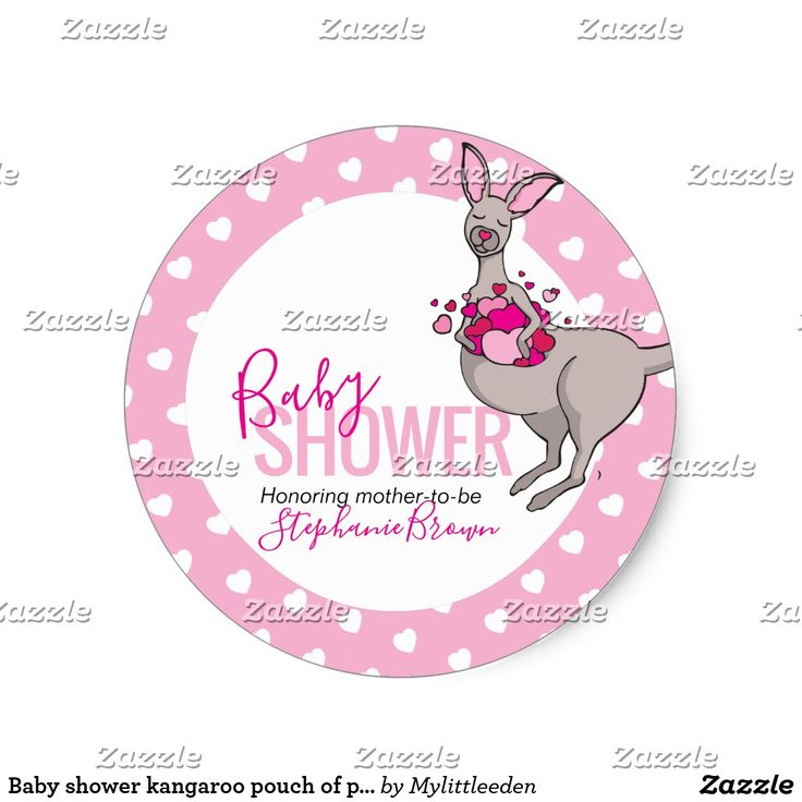 Baby shower kangaroo pouch of pink hearts stickers #babyshower #stickers #kangaroo