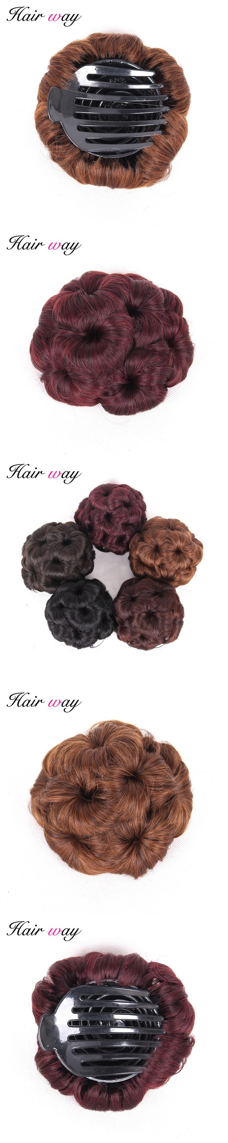 Hair Way Synthetic Curly Chignon Bun Hairpiece For Women 9 Flowers Roller Clip in Fake Hair Accessories High Temperature Fiber