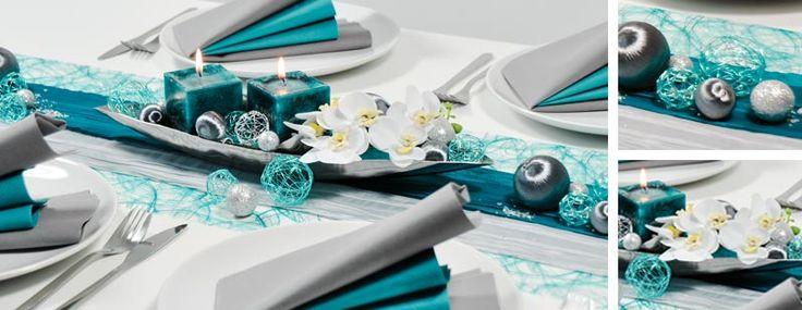 Tischdekoration zur Silberhochzeit in Türkis und Silber