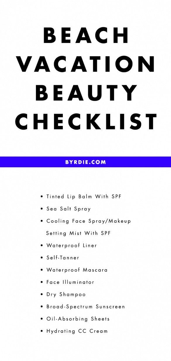 Your printable vacation beauty packing list // via @byrdiebeauty
