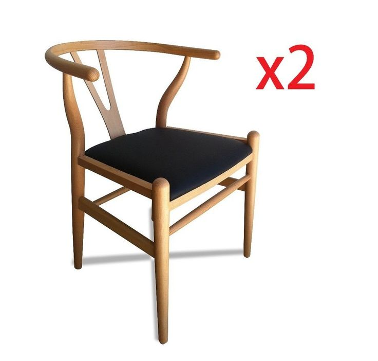 Set of 2 - Replica Hans Wegner Wishbone Chair - Natural Beech Black Pad (DC127) $275 plus freight from Derrimut