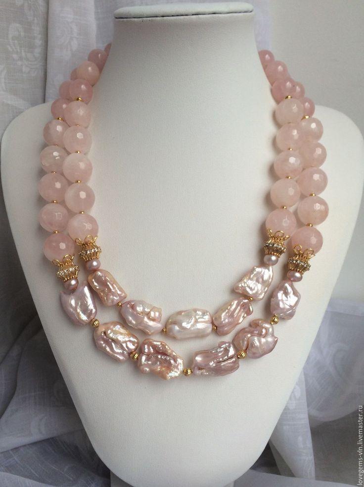 Купить Колье из розового кварца и барочного жемчуга ПОДРУЖКА НЕВЕСТЫ - колье, натуральные камни