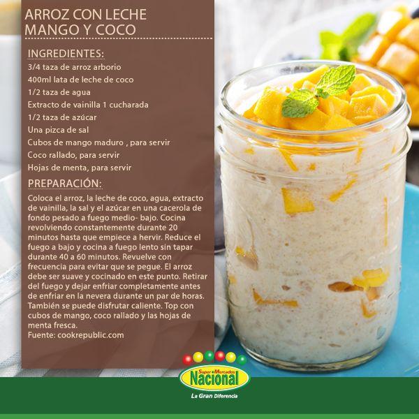 Arroz con leche mango y coco