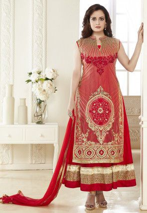 Embroidered Net Abaya Style Layered Suit in Red