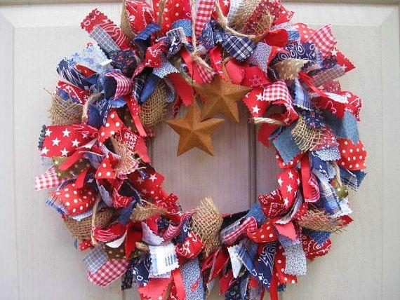 Blue Jeans Denim Burlap and Bandana Door Wreath, Southwestern Wreath, Cowboy Decor, Country Decor, Western Decoration, Fabric Wreath, Ribbon Wreath by AWorkofHeartSA, $75.00