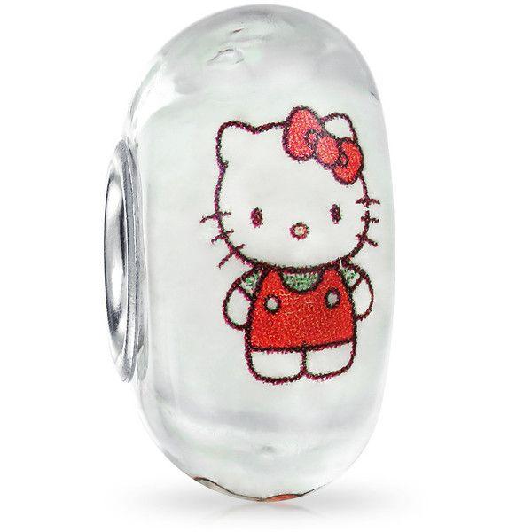 Glow in the Dark Cool Kitty Murano Glass Bead Silver Fits Pandora ($9.99) ❤ liked on Polyvore featuring jewelry, pendants, charms, clear, jewelry-making-charms, silver charms, cat jewelry, charmed comic book, animal charms and silver jewellery