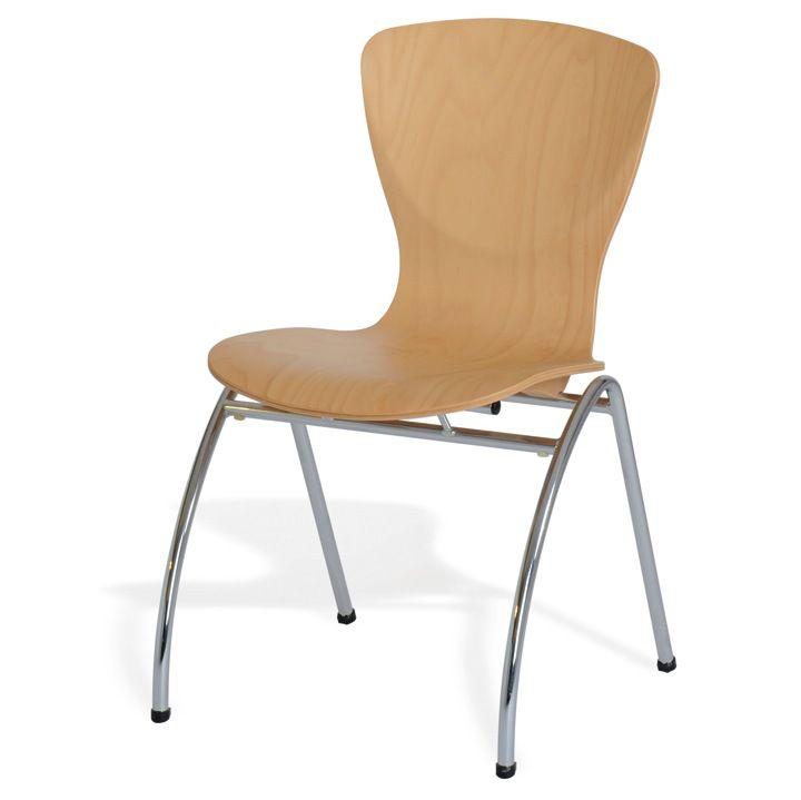 Besprechungsstuhl, stapelbar mit Holzsitzschale | schultz.de