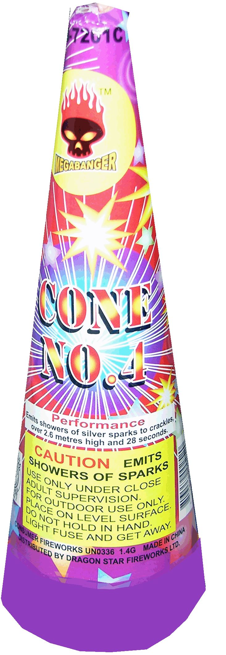 #4 Cone - North Central Industries - www.greatgrizzly.com - MUNCIE INDIANA WHOLESALE FIREWORKS •Category: Cones •Item Number: 600 •Package Contents: 72 •Dimensions: 4 x 10 x 4 •Weight: 24lbs Brand Name: Megabanger DESCRIPTION: Emits shower of silver sparks to crackles over 2.6 meters high for 28 seconds