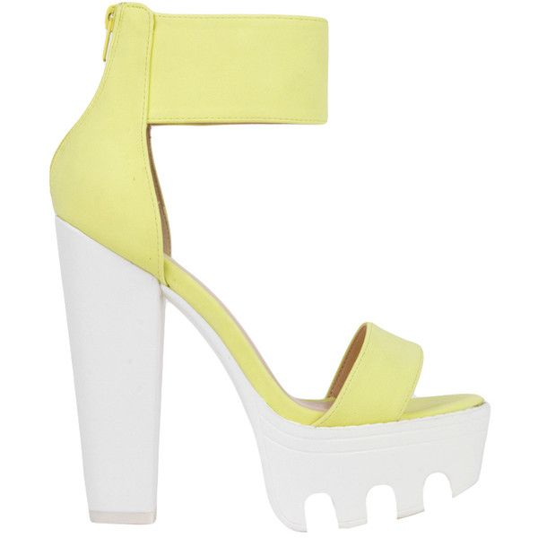 Lug Sole Platform Neon Yellow White Heeled Sandals (155 RON) ❤ liked on Polyvore featuring shoes, sandals, heels, обувь, neon yellow, white platform sandals, high heel shoes, high heels sandals, white heeled sandals and chunky heel platform sandals