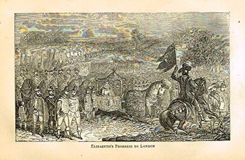 "Abott's Queen Elizabeth - ""ELIZABETH'S PROGRESS TO LONDON"" - Wood Engraving - 1869 - Sandtique-Rare-Prints and Maps"