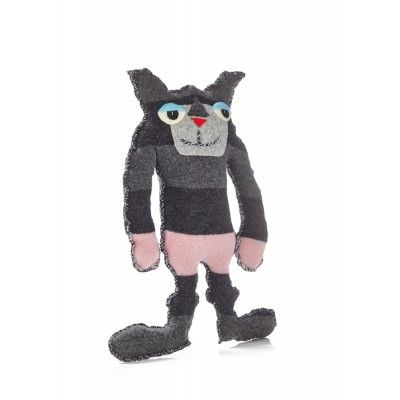 "Scamp-Cats. They are happy cats with sinister faces; that is because ""all cats are scamps"". Made of up-cycled materials."
