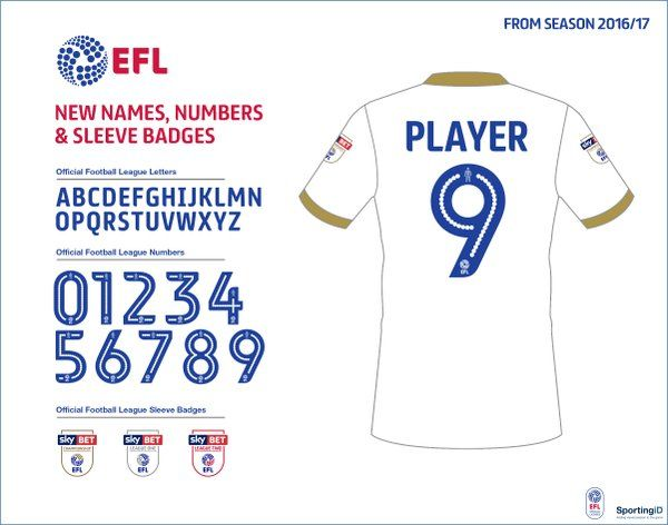(1) The Football League (@football_league) | The full set of our new look shirt names, numbers & sleeve badges for Season 2016/17 – available now at clubs shops!