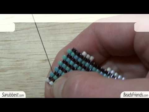 Peyote Stitch Tutorial: how to increase a flat Peyote Stitch beadwork | Beading Tutorial