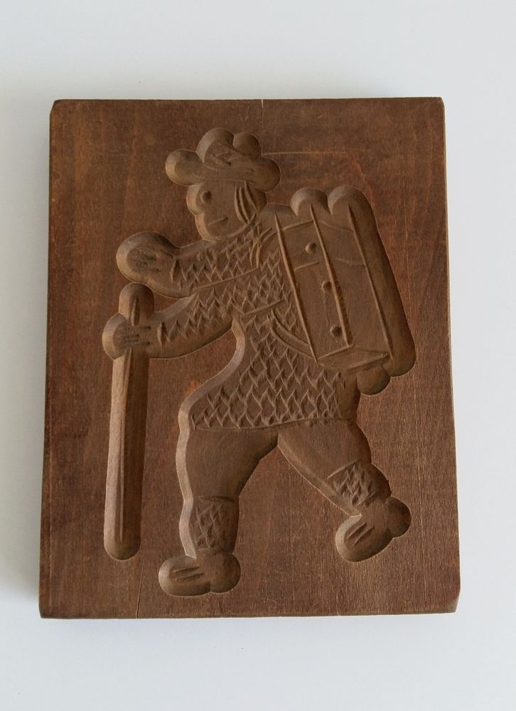 VINTAGE HAND CARVED WOOD SPECULAAS SPRINGERLE COOKIE MOLD MAN WALKING WITH CANE