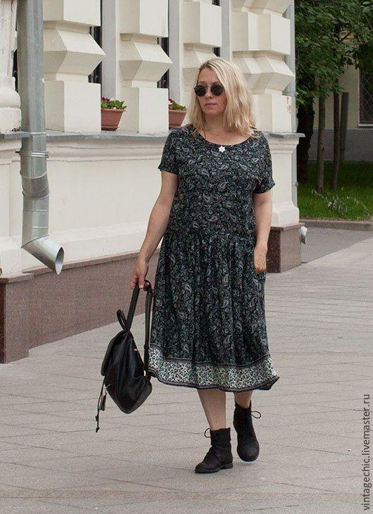 Купить Платье с каймой и огурцами art.109b - темно-серый, пейсли, платье, платье летнее