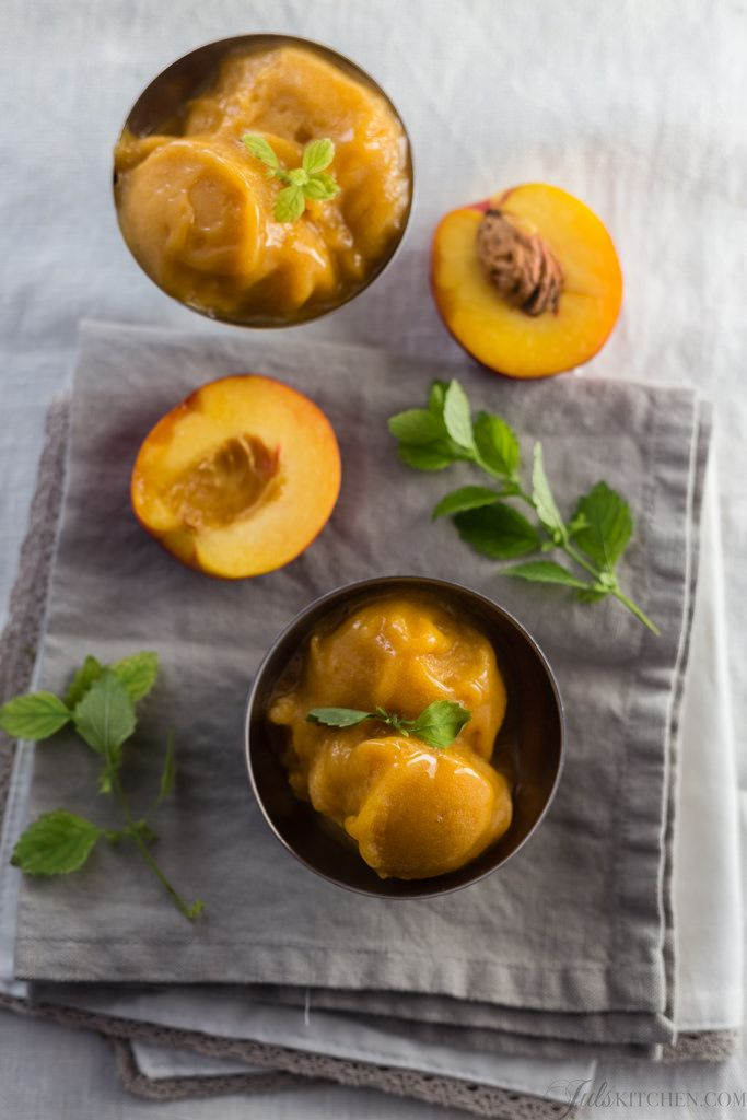 Peach and prosecco sorbet -- fyi every recipe of hers looks fabulous!