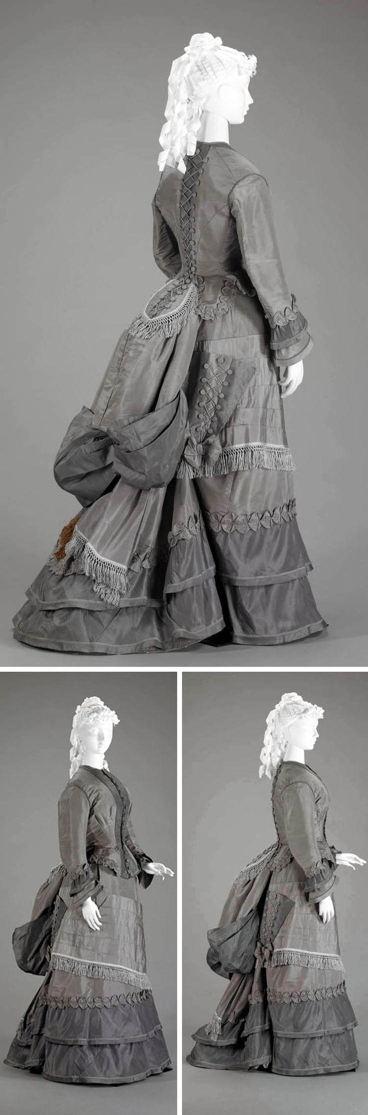 Walking suit ca. 1870s. Two-piece visiting dress in 2 shades of gray silk faille. Skirt has short train and is worn with bustle. Triangular pocket on right side of skirt, trimmed with buttons & cord lacing, was designed to hold parasol. Indianapolis Museum of Art