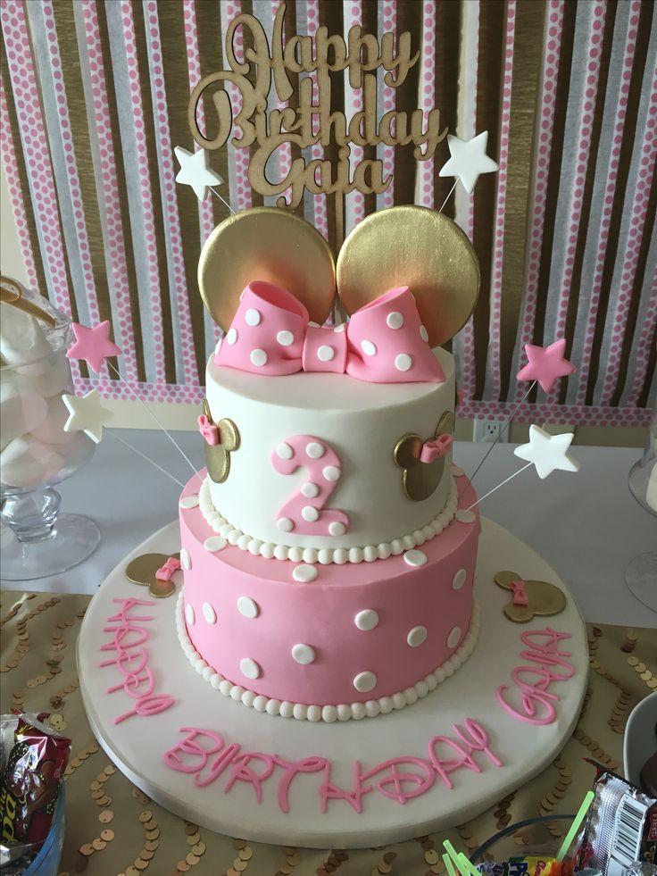 El Happy Clara ??? Para la torta ? O para uno de los frasquitos dorados ? Pink and gold Minnie Mouse birthday