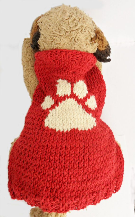 Red dog sweater small dog paw print by InspiredByMocha on Etsy