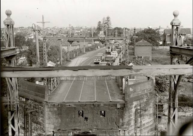 The old Gladesville Bridge and Victoria Road, Drummoyne viewed from the control tower in the late 1940's