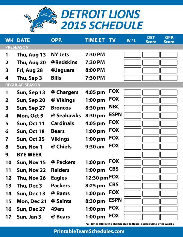 Detroit Lions 2015 Schedule. Printable version here: http://printableteamschedules.com/NFL/detroitlionsschedule.php