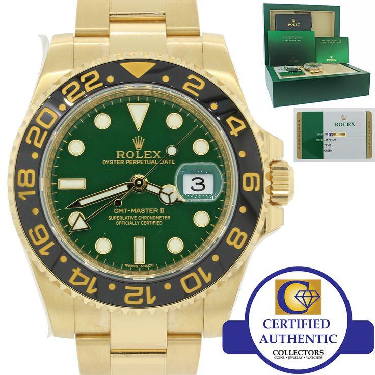 2017 NEW UNWORN Rolex GMT-Master II Ceramic Green 116718 LN 18k Gold 40mm Watch