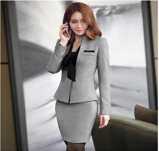 「3点セット★ビジネススーツ OL制服 スカートスーツ 女性用 レディース OL通勤 フォーマルリクルートスーツ グレー」の商品情報やレビューなど。