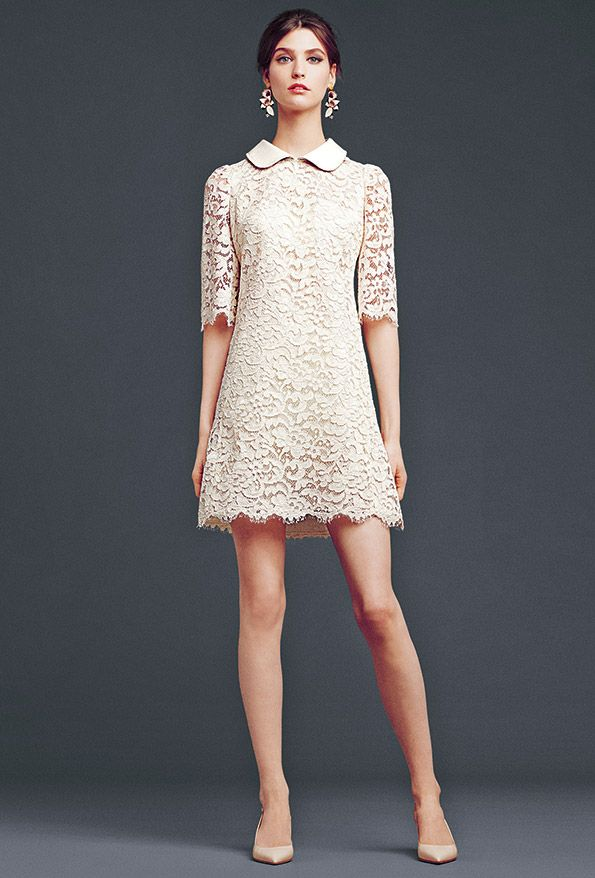 Lace collared dress. Dolce & Gabbana Woman's Apparel - Collection Fall Winter 2014 2015