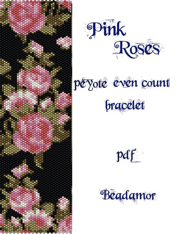 Peyote Pattern for bracelet:Pink Roses INSTANT by Beadamor on Etsy                                                                                                                                                                                 More