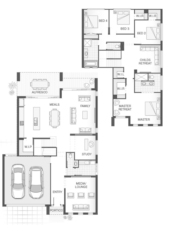 Open-plan living, functional layout, style & practicality. 4 Bedrooms. 2.5 Bathrooms. 2 Car Garage. 11.8m w x 12.6m h. 296.8m2.