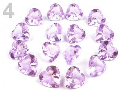 Plastové brúsené kamene-srdiečka fialové