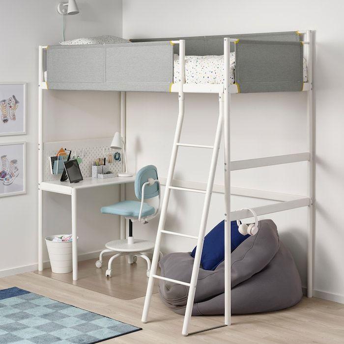 Vitval Loft Bed Frame With Desk Top White Light Gray Twin Letti Loft Letto Soppalco Letto A Soppalco