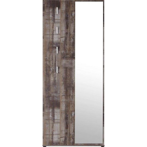 Eine stylische Ergänzung für Ihren Eingangsbereich ist diese tolle Garderobe in Vintage-Optik. Die ca. 80 x 192 x 31 cm (B x H x T) große Kompaktgarderobe aus Holznachbildung in Eiche Dekor besticht durch trendiges Design und gut durchdachte Details. Auf 4 Ablagen und 4 Haken lassen sich Mäntel, Jacken Taschen und Hüte ordentlich unterbringen. Der Spiegel ermöglicht Ihnen, stets einen Blick auf Ihr Outfit zu werfen.