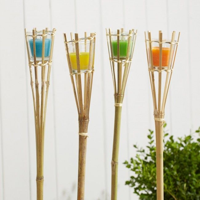 Light up your backyard or patio with our Gardina Citronella Bamboo Torches. Citronella candles keep away nighttime bugs and provide a pleasant candlelight for evening entertaining.