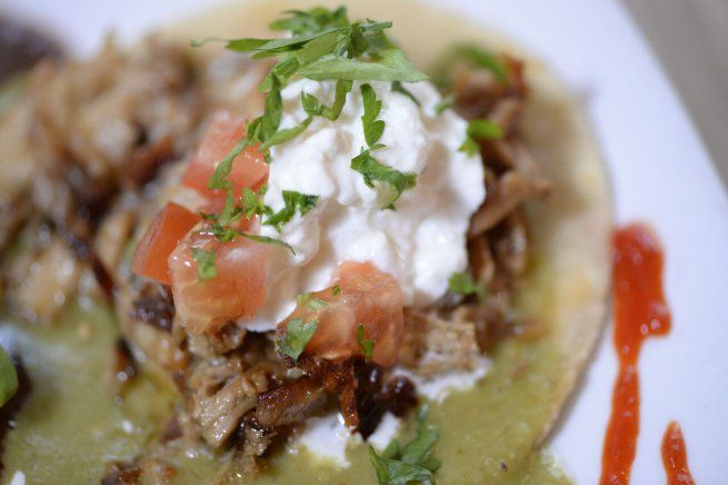 Detalle de un taco mexicano del restaurante De Boca Madre
