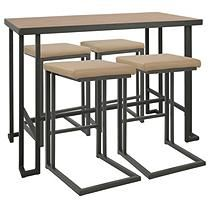 Roman 5 Piece Industrial Counter Height Dining Set in Grey and Camel