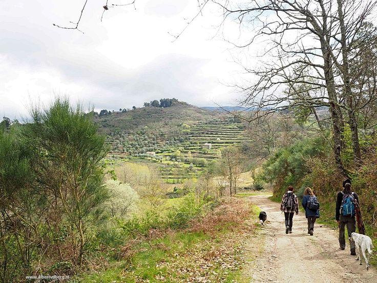 Het begin van onze mooie en lange wandeling, leuke groep, 5 vrouwen, 2 honden en ondergetekende.